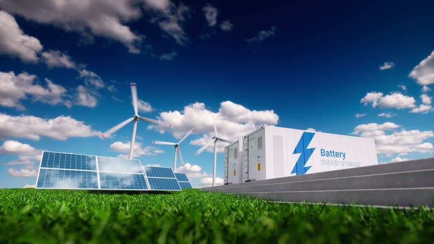 Concept of energy storage system. Renewable energy - photovoltaics, wind turbines and Li-ion battery container in fresh nature. 3d rendering. Royalty-Free Stock Footage #1006936162