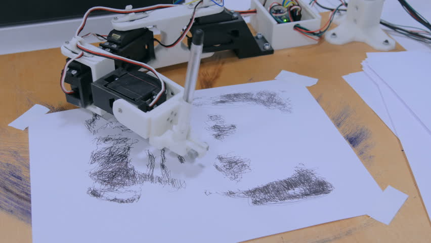 Robotic arm with black pen drawing portrait at robot exhibition. Technology and art concept Royalty-Free Stock Footage #1006952065
