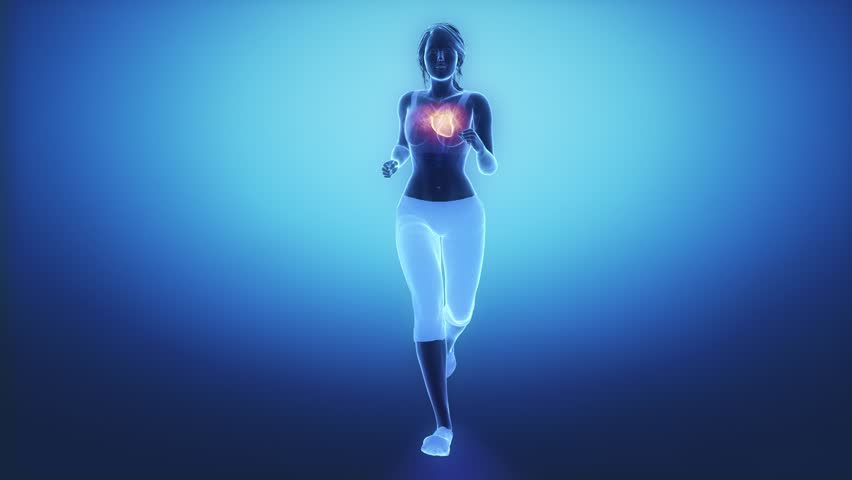 Jogging woman with heart scan in slow motion