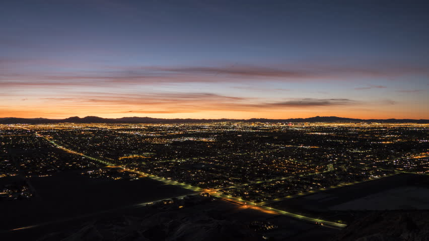 Sunrise time lapse view from the top of Lone Mountain in Las Vegas, Nevada.