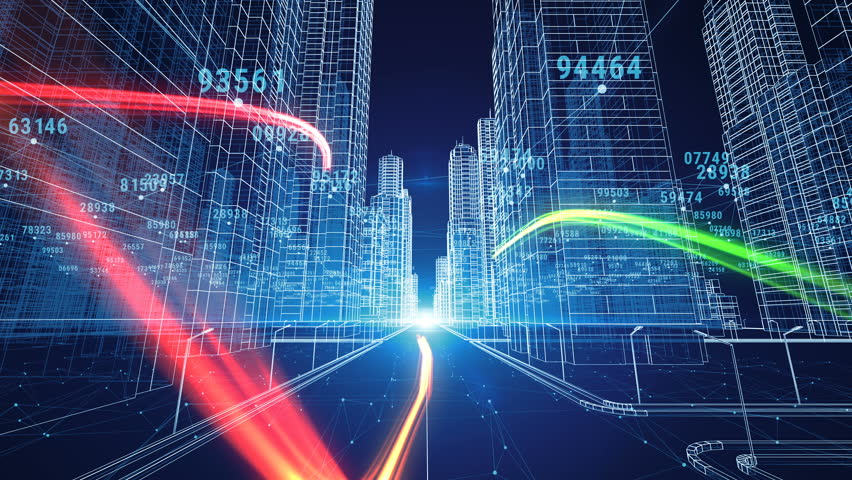 Color Strokes Flying Through the Digital Night City with Numbers and Grids. 3d Blueprint. Business and Technology Concept. 3d animation. 4k UHD 3840x2160.