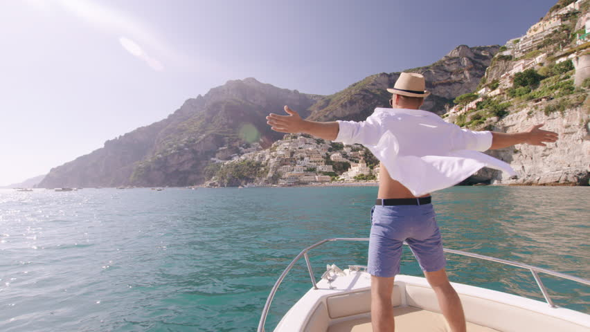 Handsome Successful Man Standing On Yacht Wind Blowing Whiote Shirt Happiness Vacation Fearlessness Slow Motion Shot Red Epic 8k