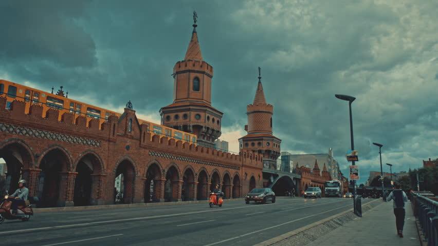 Berlin / Germany - March 2016: Rush hours in Berlin next to Oberbaum Bridge. Kreuzberg district.