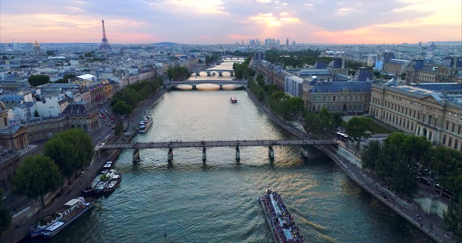 Paris Seine river aerial France | Shutterstock HD Video #1007012521