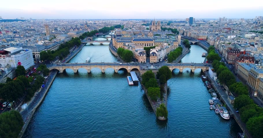 Paris Seine river aerial France | Shutterstock HD Video #1007012590