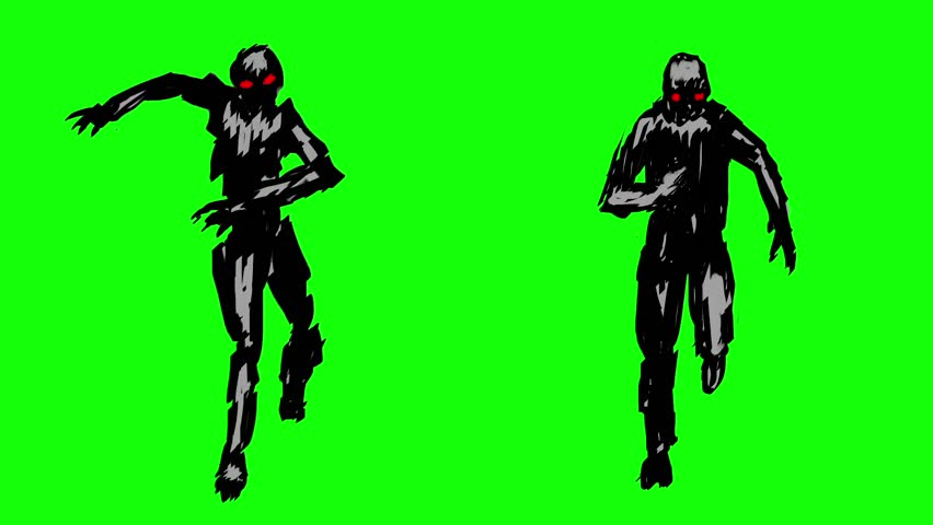 Two silhouettes of running zombies on the camera. Animation of monsters on green screen. Looped video footage in genre of horror.