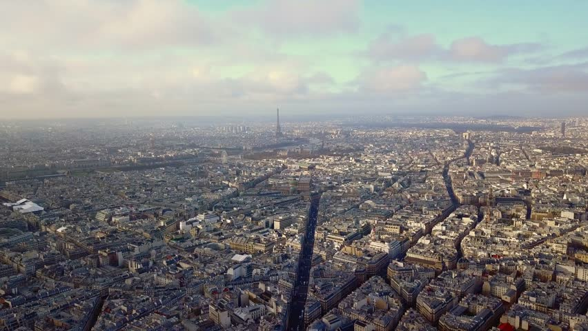 Aerial view of eiffel tower in paris france on a sunny day