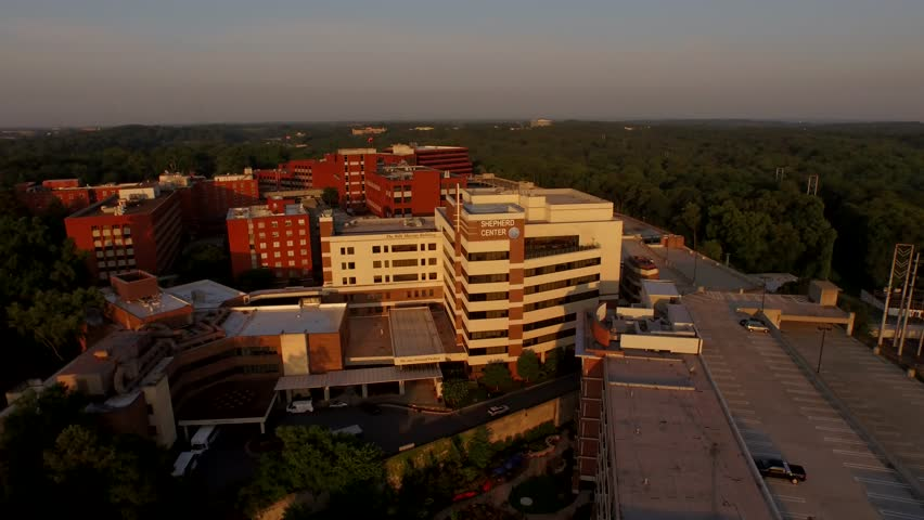 Drone shot circling around a healthcare complex in Atlanta known for treating spinal cord injuries