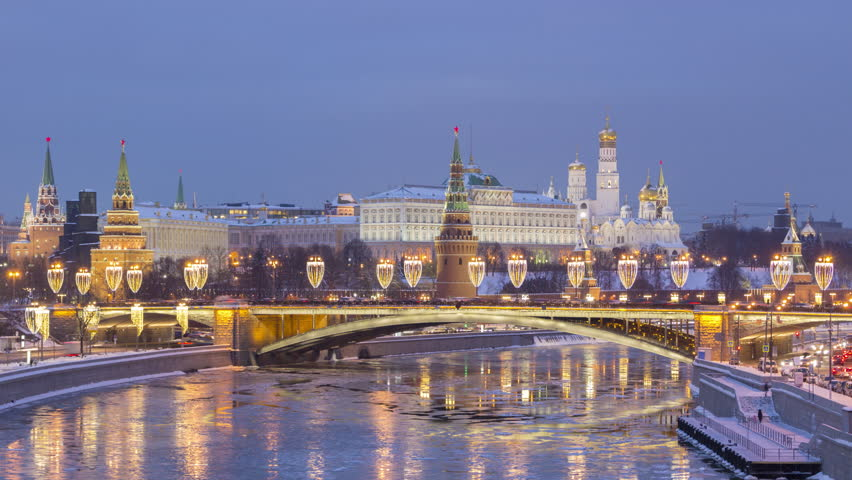 Day to Night Timelapse of Moscow Kremlin and Moscow River in Frosty Winter Evening.