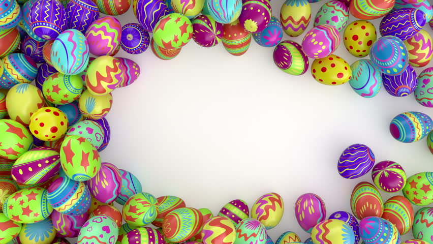 Easter eggs on solid background.  Colorful Easter eggs form a frame, you can put there your inscription or logo . White background. Check out my channel, other easter videos.