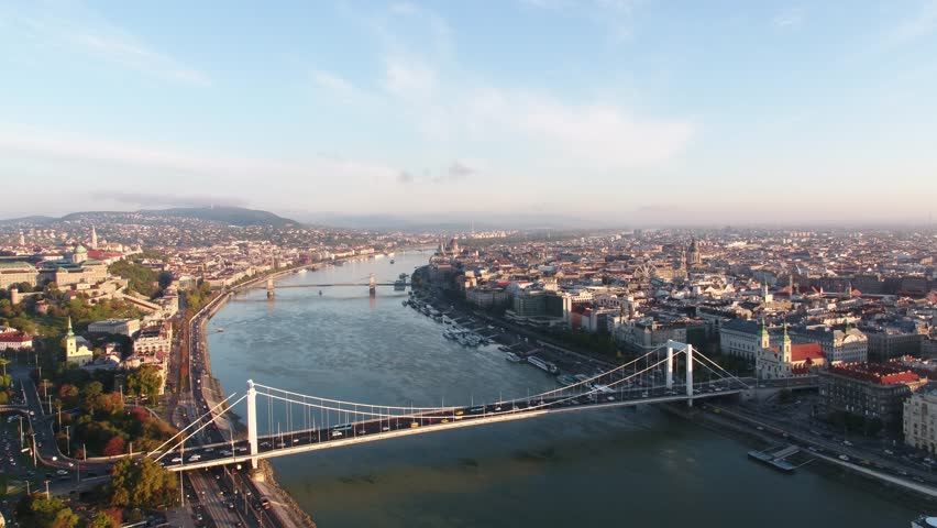 Aerial View of Budapest, Danube River, Hungary (2017) | Shutterstock HD Video #1007056951