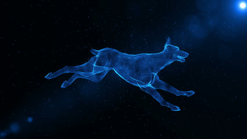 Doberman, hound dog, abstract animal running through particles, fantasy 3D animation