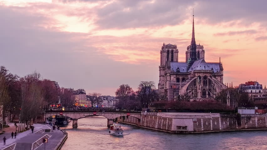 Time lapse Cityscape of Paris - Sunset on Notre Dame and Seine River    Shutterstock HD Video #1007090959