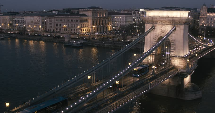 Aerial view of Budapest - Chain Bridge at Night