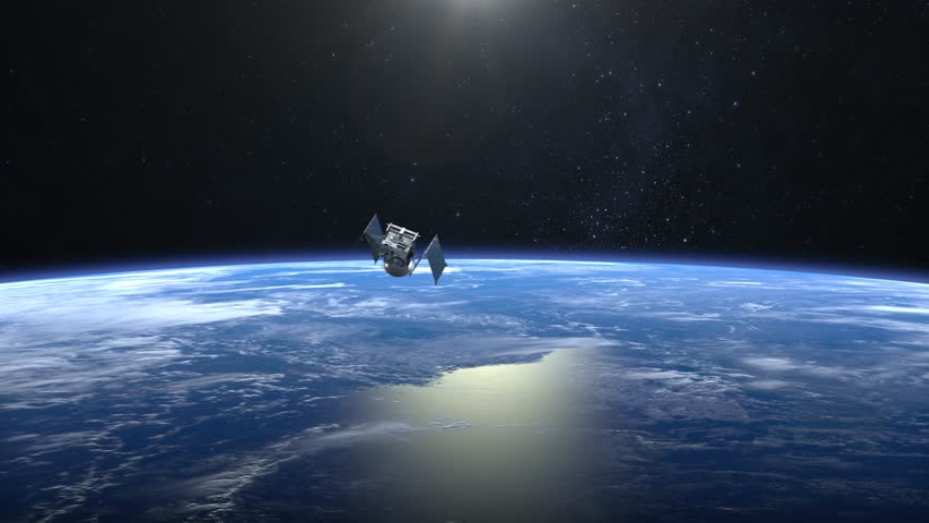 Flying satellite. The solar panel opens. The satellite appears in the frame and flies away. Satellite scan and monitor the Earth. The earth rotates slowly. 4K. | Shutterstock HD Video #1007115793