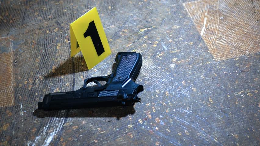 Shining a flashlight on a 9mm handgun at murder scene near evidence marker