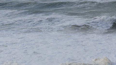 Ocean storm weather with huge waves in Biarritz, France