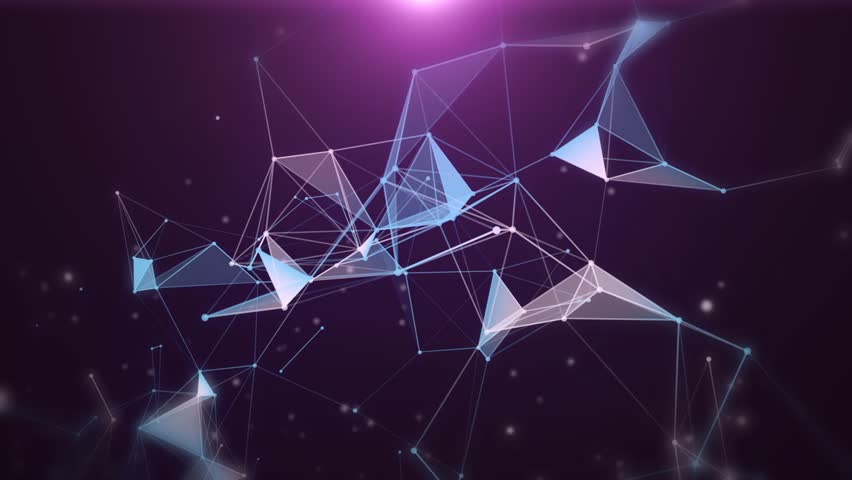Plexus of abstract purple geometrical lines with moving triangles and dots. Loop animations. Royalty-Free Stock Footage #1007139700