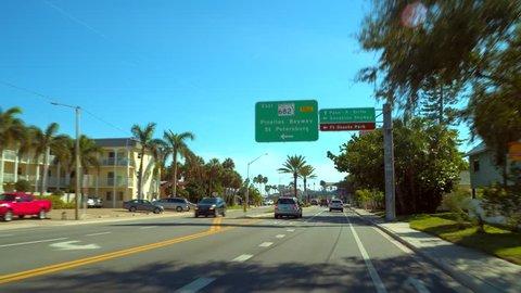 ST PETERSBURG, USA - JANUARY 15, 2018: Drive tour St Petersburg Beach FL Gulf Boulevard 4k