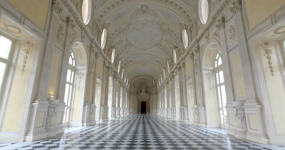 TURIN, ITALY - CIRCA FEBRUARY, 2018: POV Walking inside Diana Gallery in Venaria Royal Palace - Reggia Venaria. It was the former royal residence of the Savoy family.