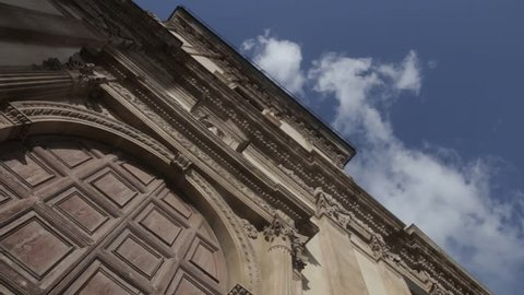 Gate of the old building in Palermo, Italy