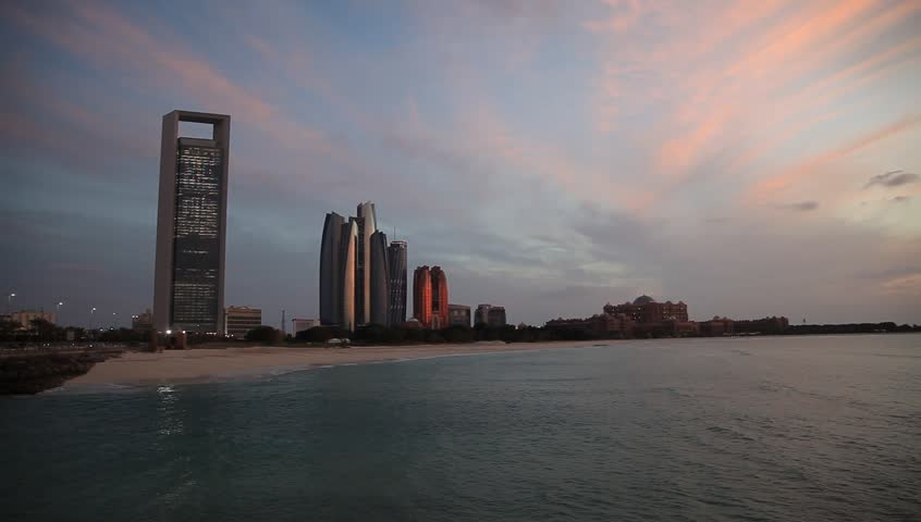 Sunset in Abu Dhabi in a cloudy day | Shutterstock HD Video #1007173702
