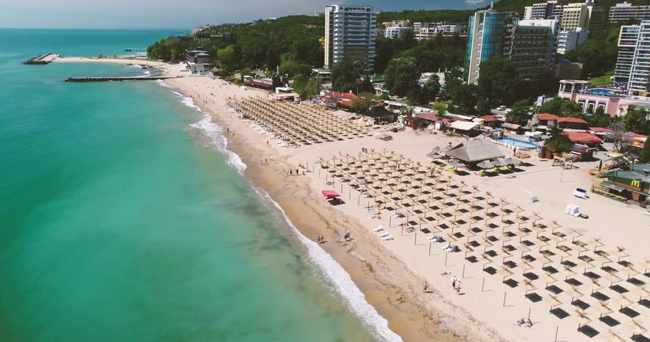 4k aerial video of the beach in Golden Sands, Zlatni Piasaci. Popular summer resort near Varna, Bulgaria    Shutterstock HD Video #1007173813