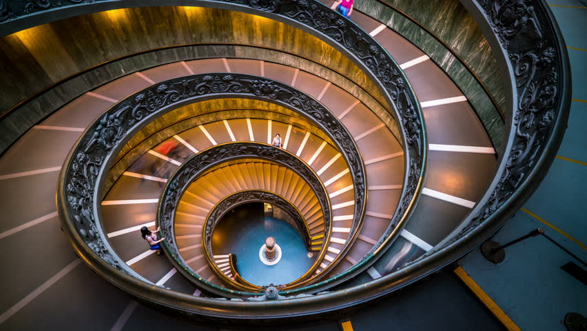 Time Lapse of People on Bramante Staircase in Vatican Museums in the Vatican City , Rome , Italy . The double helix staircase is is the famous travel destination of The Vatican and Rome , Italy.