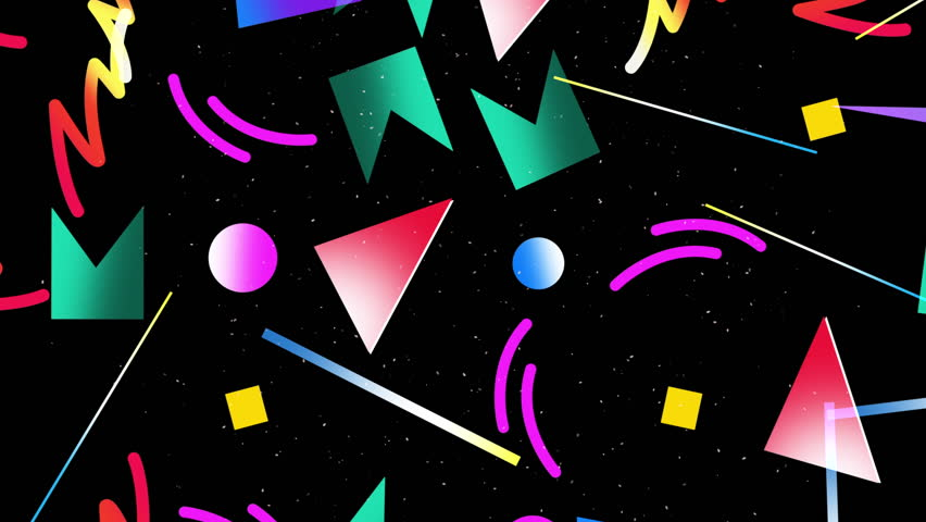 Motion retro shapes abstract background. Elegant and luxury dynamic geometric 70s, 80s, 90s Memphis style template in 4k footage. Video format 3840x2160 #1007204509