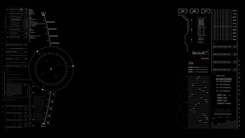 PNG alpha.HUD viewfinder terget.Futuristic infographic elements.HUD pattern.Good for tech video overlay.As HUD infographic material texture for 3D models animation.Type 5 #1007207740