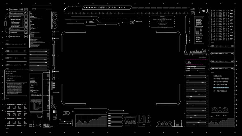PNG alpha.HUD digital interface.Futuristic infographic elements.Technological pattern.Good for tech video overlay.As HUD infographic material texture for 3D models animation.HUD elements Type 3