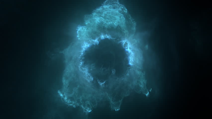 Fly through nebula in space / fly through elementary particle / fly through underwater plankton / fly through fractal matter. Separated on pure black background, contains alpha channel.