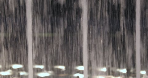 Close-up of water fountain splashing into the air in 4K. Water fountain park