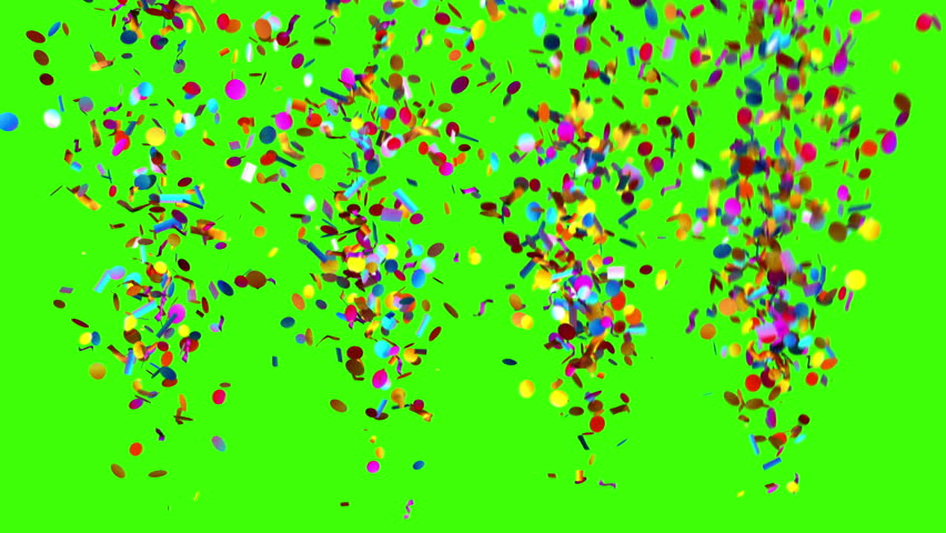 Confetti Party Popper Explosions on a Green Background, Two options, 3d animation, 4K.   #1007236858