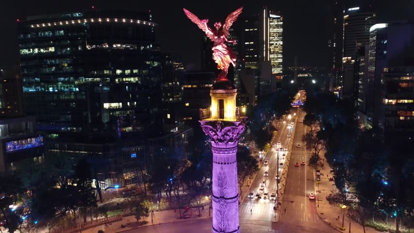 Angel de la Independencia Mexico DF Aerial Drone Noche