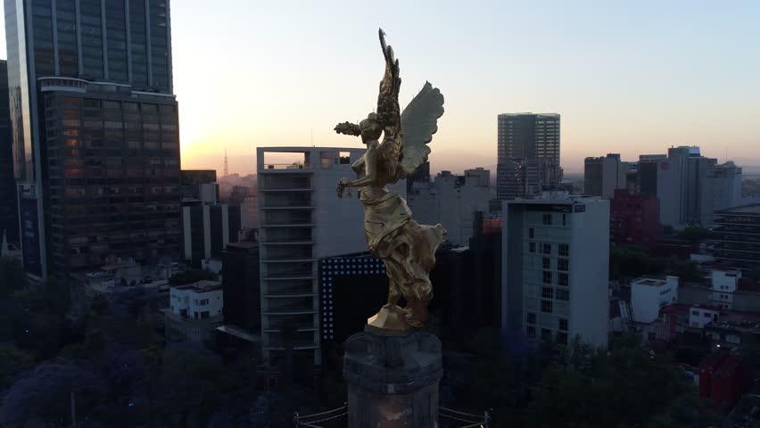 Angel de la Independencia Aerial Drone Day Dia