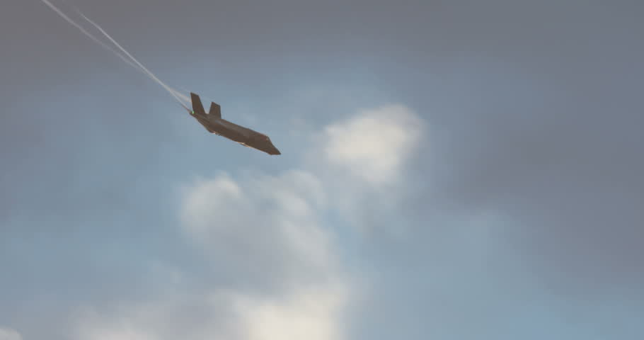 Israeli air force F-35 stealth fighter during low altitude flight