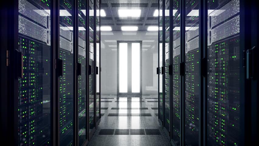 Servers racks walkthrough in Modern data center. Cloud computing datacenter server room. Cloud computing data storage 3d rendering. 4k UHD animation