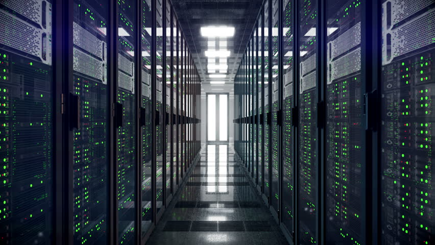Servers racks walkthrough in Modern data center. Cloud computing datacenter server room. Cloud computing data storage 3d rendering. 4k UHD animation