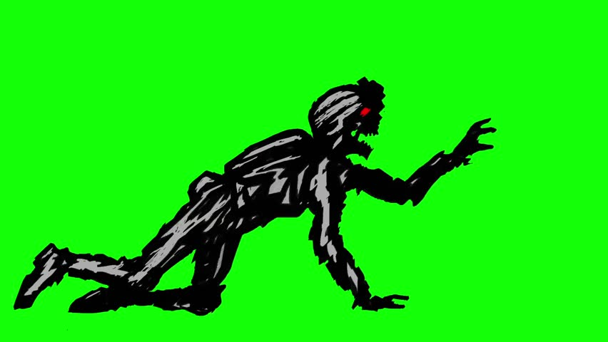 Black silhouette a zombie soldier in helmet is creeps on all fours. Looped animation. Scary monster character profile. Genre of horror. Side view on a green background. #1007260261