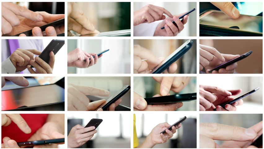 Collage of different people hands texting or typing SMS on smartphones. They using cell phones and smart phones. Technology and communication concept. 8K UltraHD (UHD) video | Shutterstock HD Video #1007261320