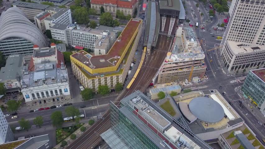 Germany Berlin Aerial v4 Birdseye flying low around Zoologischer Garten railway station 8/17