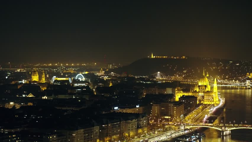 Aerial view over Budapest at night (2017) | Shutterstock HD Video #1007296075
