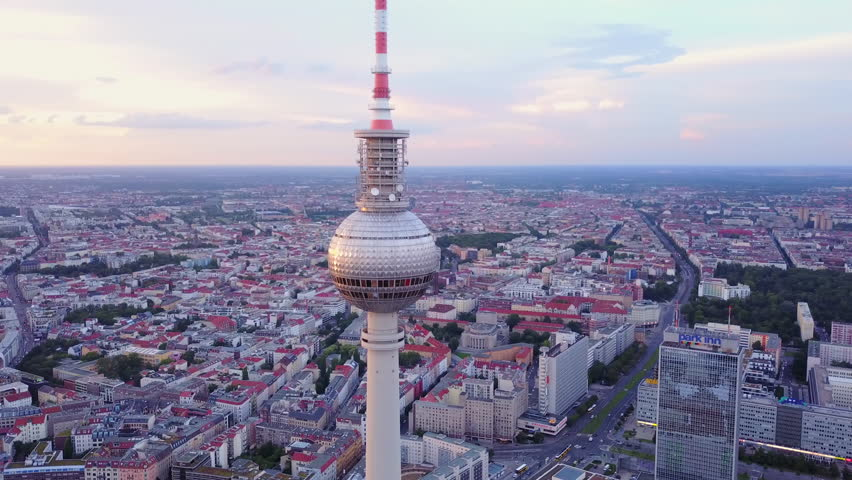 Germany Berlin Aerial v29 Flying low around Berliner Fernsehturm tower cityscape views sunset 8/17