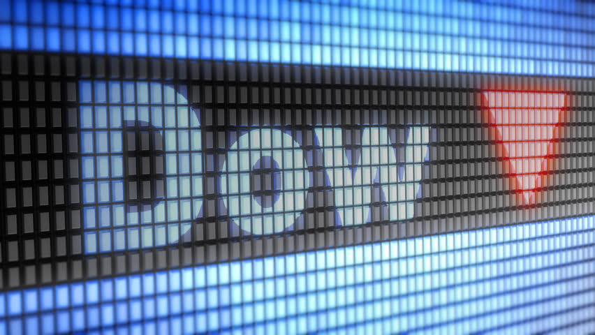 The Dow Jones Industrial Average. Down. Looping. | Shutterstock HD Video #1007334196