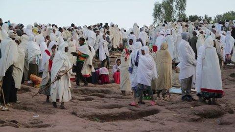 ETHIOPIA,LALIBELA-CIRCA  JANUARY 2018--unidentified people in the genna celebration