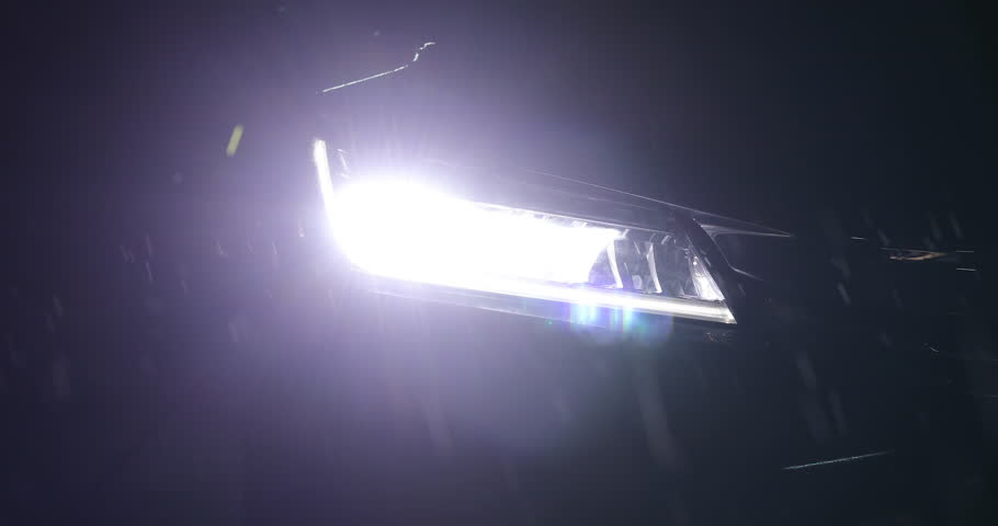 headlight vehicle car open in rainy night street road #1007343568