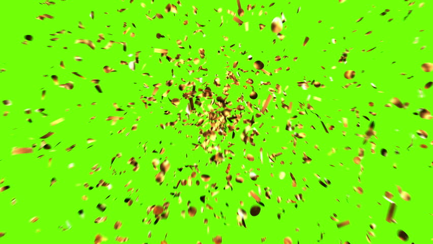 Golden Confetti Party Popper Explosions on a Green and Black Backgrounds. 3d animation, 4K.  Royalty-Free Stock Footage #1007347588