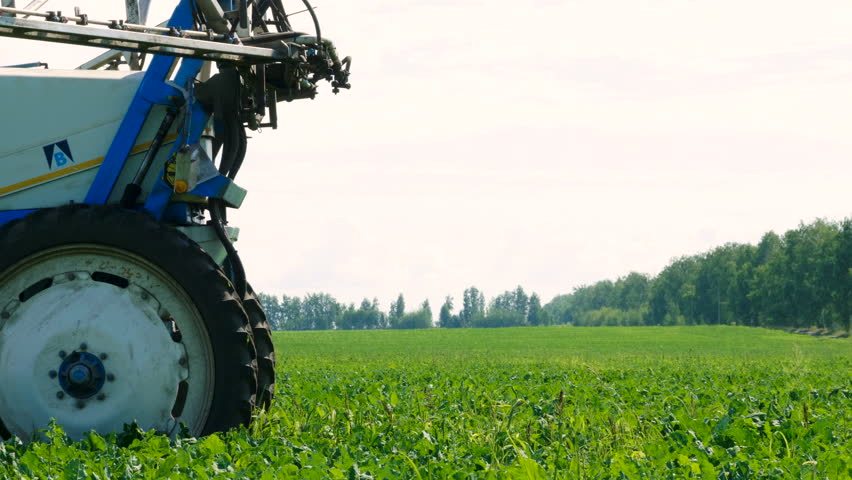 Tractor preparing for spraying the plants of sugar beet from pests, diseases. 4K | Shutterstock HD Video #1007350936