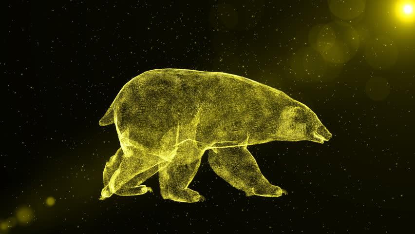 Polar Bear, abstract arctic animal walking through snow, fantasy 3D animation
